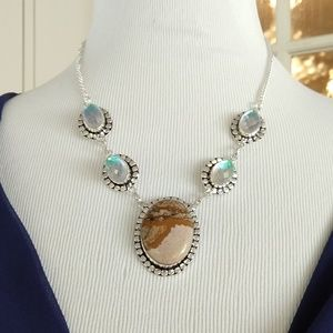 Jasper rainbow topaz stamped 925 necklace